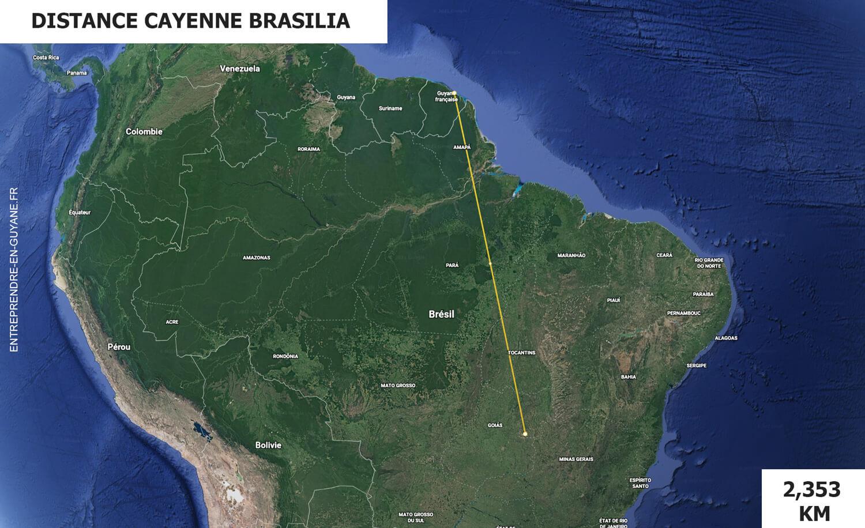 Distance entre Cayenne et Brasilia